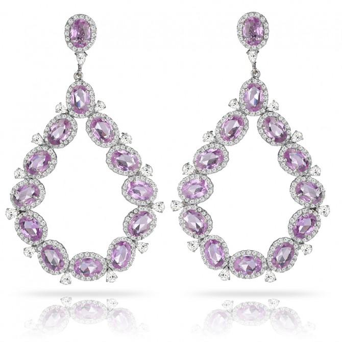 Dew Drop Pink Sapphire Earrings