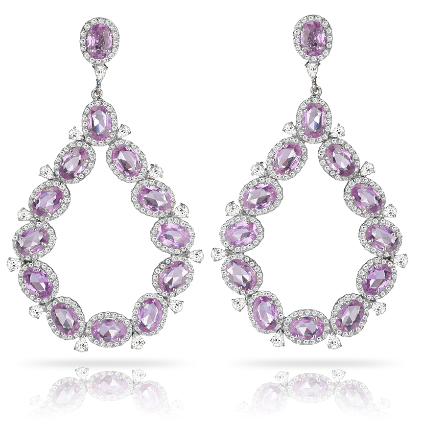 Dew Drop Pink Sapphire Earrings