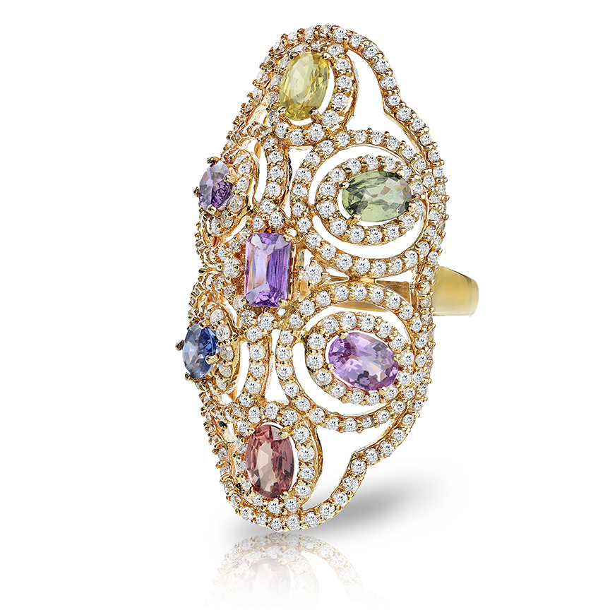 Floral Multi Sapphire Ring