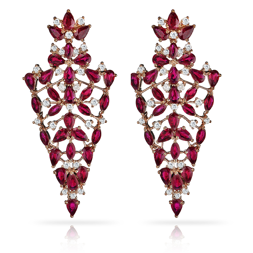 Sleek Ruby Earrings