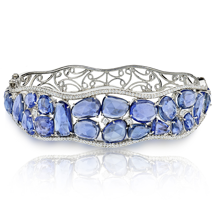 Clustered Blue Sapphire Bracelet